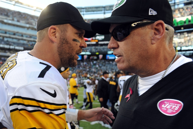 Oct 13, 2013; East Rutherford, NJ, USA; Pittsburgh Steelers quarterback Ben Roethlisberger (7) and New York Jets head coach Rex Ryan shake hands after the second half at MetLife Stadium. The Steelers won the game 19-6. Mandatory Credit: Joe Camporeale-USA TODAY Sports