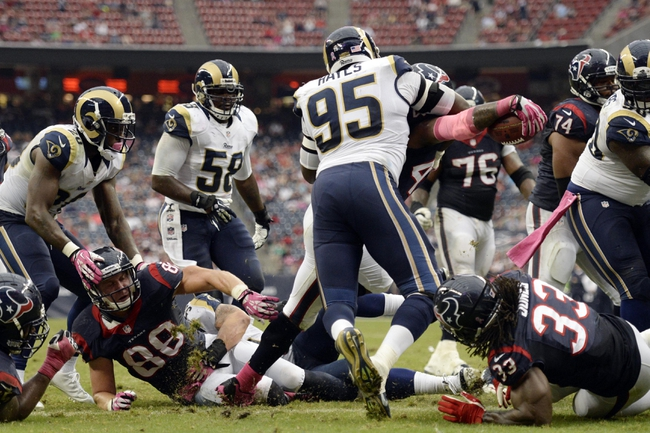 Oct 13, 2013; Houston, TX, USA; Houston Texans running back Ben Tate (44) extends the ball over the goal line to score a touchdown against the St. Louis Rams during the second half at Reliant Stadium. The Rams won 38-13. Mandatory Credit: Thomas Campbell-USA TODAY Sports