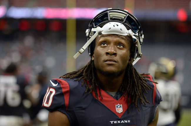 Oct 13, 2013; Houston, TX, USA; Houston Texans wide receiver DeAndre Hopkins (10) walks off the field after the game against the St. Louis Rams at Reliant Stadium. The Rams won 38-13. Mandatory Credit: Thomas Campbell-USA TODAY Sports