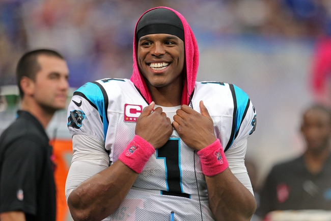 Oct 13, 2013; Minneapolis, MN, USA; Carolina Panthers quarterback Cam Newton (1) smiles during the fourth quarter against the Minnesota Vikings at Mall of America Field at H.H.H. Metrodome. The Panthers defeated the Vikings 35-10. Mandatory Credit: Brace Hemmelgarn-USA TODAY Sports
