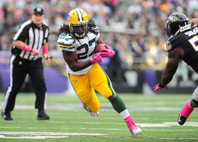 Oct 13, 2013; Baltimore, MD, USA; Green Bay Packers running back Eddie Lacy (27) runs with the ball during the game against the Baltimore Ravens at M&T Bank Stadium. Mandatory Credit: Evan Habeeb-USA TODAY Sports
