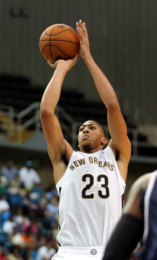 Oct 13, 2013; Biloxi, MS, USA; New Orleans Pelicans power forward Anthony Davis (23) takes a shot against the Atlanta Hawks during the second half of their game at the Mississippi Coast Coliseum. The Pelicans won 105-73. Mandatory Credit: Chuck Cook-USA TODAY Sports