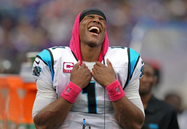 Oct 13, 2013; Minneapolis, MN, USA; Carolina Panthers quarterback Cam Newton (1) laughs on the sidelines during the fourth quarter against the Minnesota Vikings at Mall of America Field at H.H.H. Metrodome. The Panthers defeated the Vikings 35-10. Mandatory Credit: Brace Hemmelgarn-USA TODAY Sports