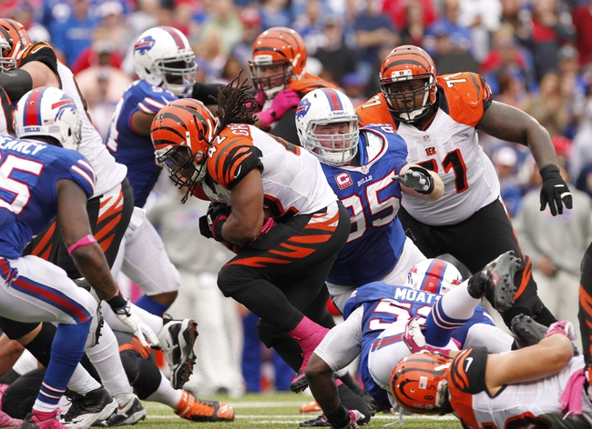 Oct 13, 2013; Orchard Park, NY, USA; Buffalo Bills defensive tackle Kyle Williams (95) tackles Cincinnati Bengals running back BenJarvus Green-Ellis (42) during the second half at Ralph Wilson Stadium. Bengals beat the Bills 27-24 in overtime. Mandatory Credit: Kevin Hoffman-USA TODAY Sports