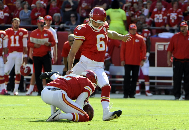 Oct 13, 2013; Kansas City, MO, USA; Kansas City Chiefs kicker Ryan Succop (6) kicks a field goal against the Oakland Raiders with the help of holder Dustin Colquitt (2) in the second half at Arrowhead Stadium. Kansas City won the game 24-7. Mandatory Credit: John Rieger-USA TODAY Sports