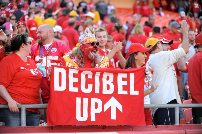 Oct 13, 2013; Kansas City, MO, USA; Kansas City Chiefs fans cheer during the second half of the game against the Oakland Raiders at Arrowhead Stadium. The Chiefs won 24-7. Mandatory Credit: Denny Medley-USA TODAY Sports
