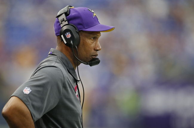 Oct 13, 2013; Minneapolis, MN, USA; Minnesota Vikings head coach Leslie Frazier watches as his team plays the Carolina Panthers at Mall of America Field at H.H.H. Metrodome. Panthers win 35-10. Mandatory Credit: Bruce Kluckhohn-USA TODAY Sports