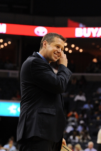 Oct 13, 2013; Memphis, TN, USA; Memphis Grizzlies head coach Dave Joerger calls a timeout during the second quarter at FedExForum. Mandatory Credit: Justin Ford-USA TODAY Sports