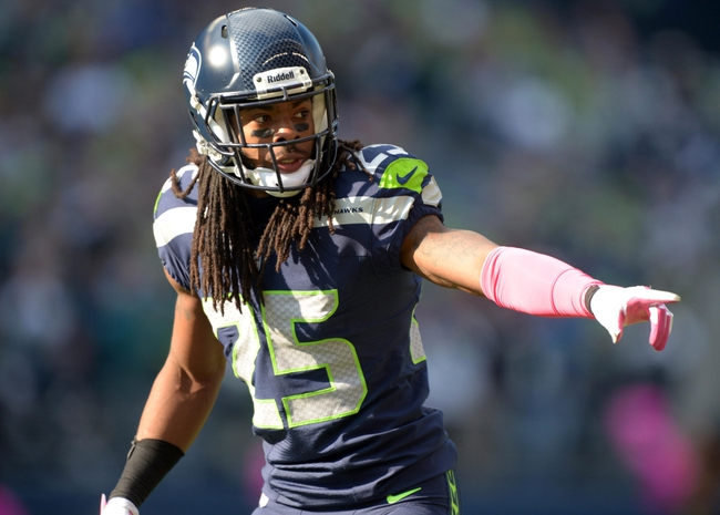 Oct 13, 2013; Seattle, WA, USA; Seattle Seahawks cornerback Richard Sherman (25) during the game against the Tennessee Titans at CenturyLink Field. The Seahawks defeated the Titans 20-13. Mandatory Credit: Kirby Lee-USA TODAY Sports