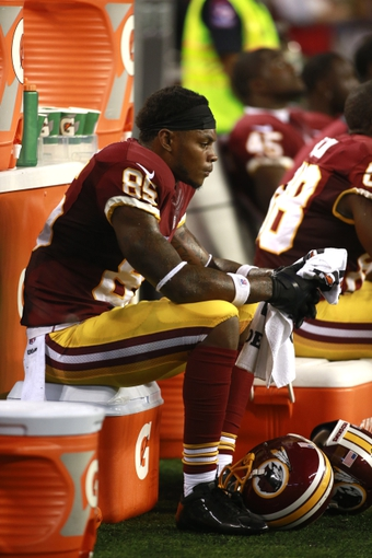 Oct 13, 2013; Arlington, TX, USA; Washington Redskins wide receiver Leonard Hankerson (85) on the bench during the game against the Dallas Cowboys at AT&T Stadium. The Dallas Cowboys beat the Washington Redskins 31-16. Mandatory Credit: Tim Heitman-USA TODAY Sports