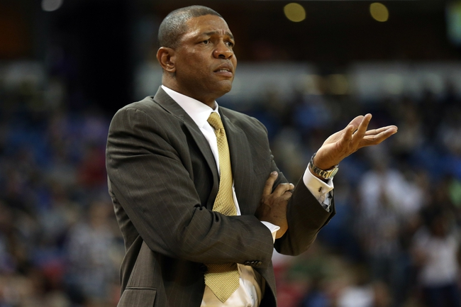 Oct 14, 2013; Sacramento, CA, USA; Los Angeles Clippers head coach Doc Rivers questions the referee during the third quarter against the Sacramento Kings at Sleep Train Arena. The Sacramento Kings defeated the Los Angeles Clippers 99-88. Mandatory Credit: Kelley L Cox-USA TODAY Sports