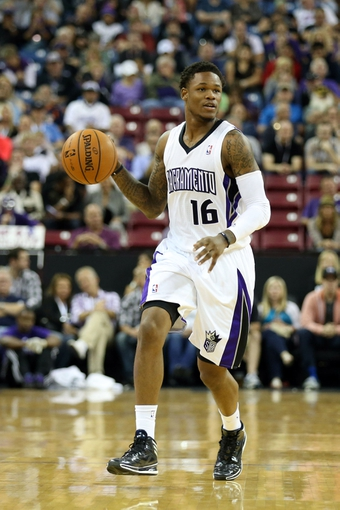 Oct 14, 2013; Sacramento, CA, USA; Sacramento Kings shooting guard Ben McLemore (16) controls the ball against the Los Angeles Clippers during the fourth quarter at Sleep Train Arena. The Sacramento Kings defeated the Los Angeles Clippers 99-88. Mandatory Credit: Kelley L Cox-USA TODAY Sports