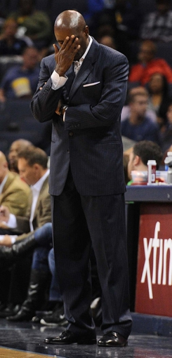 Oct 15, 2013; Memphis, TN, USA; Milwaukee Bucks head coach Larry Drew reacts after a play during the fourth quarter against the Memphis Grizzlies at FedExForum. Memphis Grizzlies defeat Milwaukee Bucks 102 - 99 Mandatory Credit: Justin Ford-USA TODAY Sports