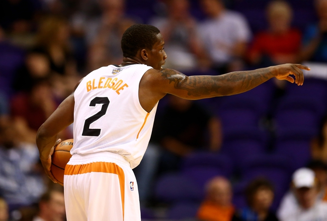 Oct 15, 2013; Phoenix, AZ, USA; Phoenix Suns guard Eric Bledsoe reacts against the Los Angeles Clippers at US Airways Center. Mandatory Credit: Mark J. Rebilas-USA TODAY Sports