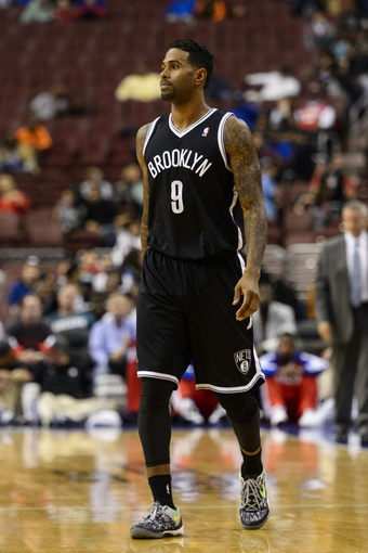 Oct 14, 2013; Philadelphia, PA, USA; Brooklyn Nets forward Gary Forbes (9) during the fourth quarter against the Philadelphia 76ers at Wells Fargo Center. The Nets defeated the Sixers 127-97. Mandatory Credit: Howard Smith-USA TODAY Sports