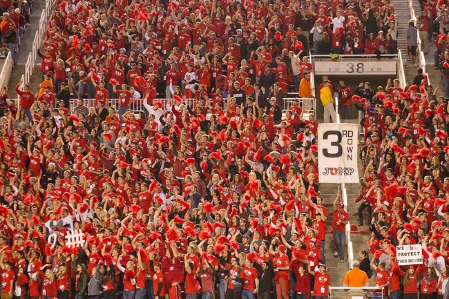 Oct 12, 2013; Salt Lake City, UT, USA; Utah Utes fans during the second half against the Stanford Cardinal at Rice-Eccles Stadium. Utah defeated Stanford 27-21. Mandatory Credit: Russ Isabella-USA TODAY Sports