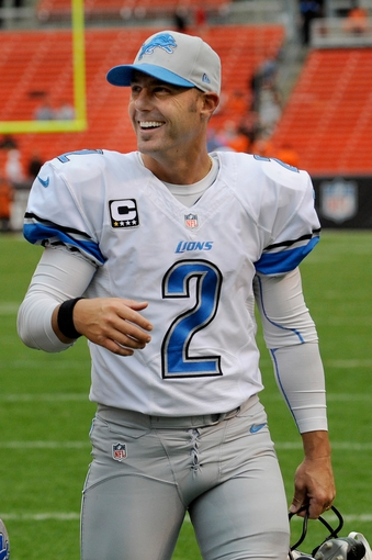 Oct 13, 2013; Cleveland, OH, USA; Detroit Lions kicker David Akers (2) against the Cleveland Browns at FirstEnergy Stadium. Mandatory Credit: Ken Blaze-USA TODAY Sports