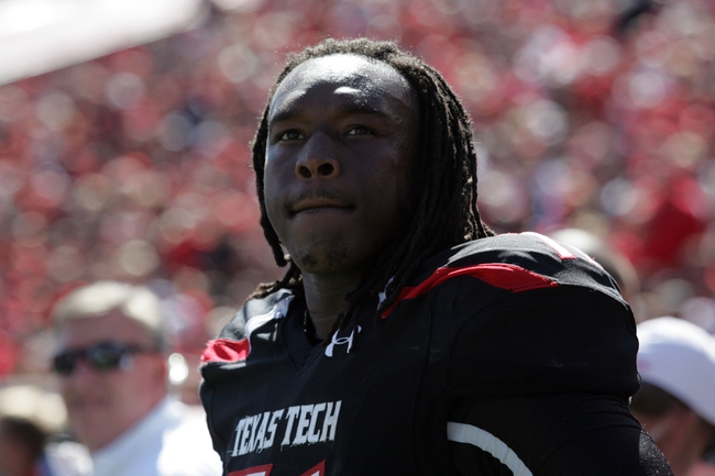 Oct 12, 2013; Lubbock, TX, USA; Texas Tech Red Raiders offensive lineman Rashad Fortenberry (71) on the sidelines during the game with the Iowa State Cyclones at Jones AT&T Stadium. Mandatory Credit: Michael C. Johnson-USA TODAY Sports