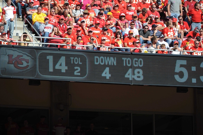 Oct 13, 2013; Kansas City, MO, USA; A general view of the scoreboard showing the Oakland Raiders field position during the second half of the game against the Kansas City Chiefs at Arrowhead Stadium. The Chiefs won 24-7. Mandatory Credit: Denny Medley-USA TODAY Sports