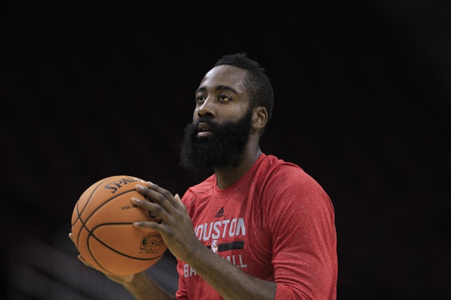 Oct 16, 2013; Houston, TX, USA; Houston Rockets shooting guard James Harden (13) warms up before the game against the Orlando Magic at Toyota Center. Mandatory Credit: Thomas Campbell-USA TODAY Sports