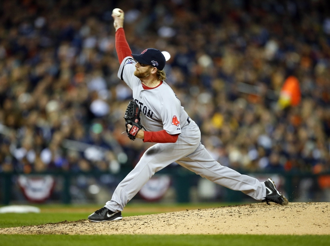 Oct 16, 2013; Detroit, MI, USA; Boston Red Sox starting pitcher Ryan Dempster (46) throws Detroit Tigers during the sixth inning in game four of the American League Championship Series baseball game at Comerica Park. Mandatory Credit: Rick Osentoski-USA TODAY Sports