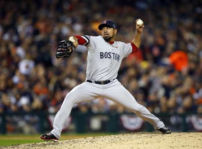 Oct 16, 2013; Detroit, MI, USA;  Boston Red Sox relief pitcher Franklin Morales (56) throws Detroit Tigers during the seventh inning in game four of the American League Championship Series baseball game at Comerica Park. Mandatory Credit: Rick Osentoski-USA TODAY Sports