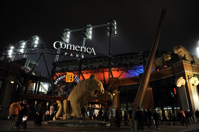 Oct 16, 2013; Detroit, MI, USA; View outside of Comerica Park as fans leave during the eighth inning in game four of the American League Championship Series baseball game between the Detroit Tigers and the Boston Red Sox. Mandatory Credit: Tim Fuller-USA TODAY Sports