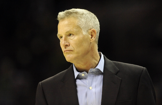 Oct 17, 2013; Charlotte, NC, USA; Philadelphia 76ers head coach Brett Brown during the pre season game against the Charlotte Bobcats at Time Warner Cable Arena. Bobcats win 110-84. Mandatory Credit: Sam Sharpe-USA TODAY Sports