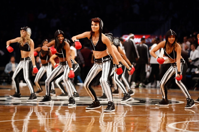Oct 17, 2013; Brooklyn, NY, USA;  Brooklynettes perform during the game against the Miami Heat at Barclays Center. Mandatory Credit: Anthony Gruppuso-USA TODAY Sports