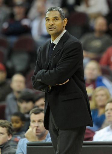 Oct 17, 2013; Cleveland, OH, USA; Detroit Pistons head coach Maurice Cheeks looks up at the scoreboard during the game against the Cleveland Cavaliers at Quicken Loans Arena. Mandatory Credit: Eric P. Mull-USA TODAY Sports