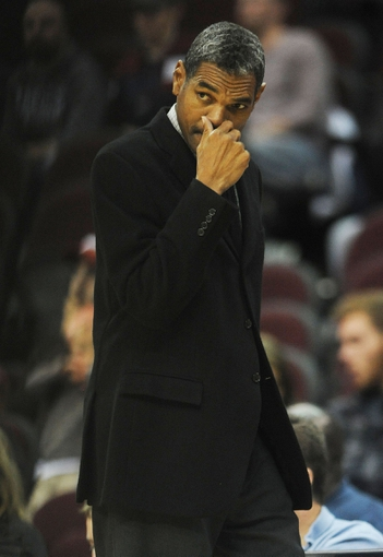 Oct 17, 2013; Cleveland, OH, USA; Detroit Pistons head coach Maurice Cheeks watches as his team brings the ball up court against the Cleveland Cavaliers during the game at Quicken Loans Arena. Mandatory Credit: Eric P. Mull-USA TODAY Sports