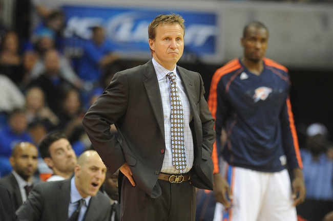 Oct 17, 2013; Tulsa, OK, USA; Oklahoma City Thunder head coach Scott Brooks reacts to a call in action against the New Orleans Pelicans at BOK Center. Mandatory Credit: Mark D. Smith-USA TODAY Sports