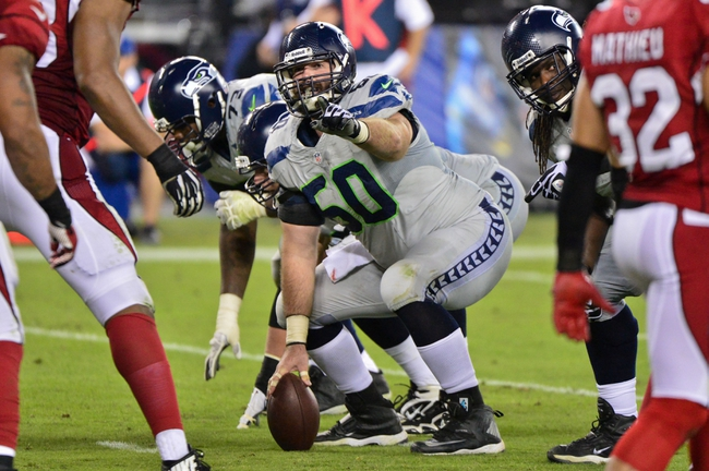 Oct 17, 2013; Phoenix, AZ, USA; Seattle Seahawks center Max Unger (60) signals to teammates during the second half against the Arizona Cardinals at University of Phoenix Stadium. Mandatory Credit: Matt Kartozian-USA TODAY Sports
