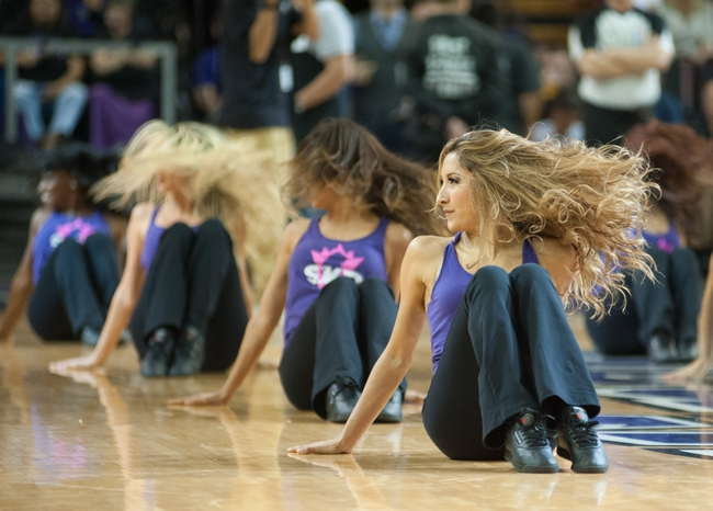 Oct 17, 2013; Sacramento, CA, USA; The Sacramento Kings dance team performs during a break in the game between the Sacramento Kings and Phoenix Suns at Sleep Train Arena. The Sacramento Kings defeated the Phoenix Suns 107-90 Mandatory Credit: Ed Szczepanski-USA TODAY Sports