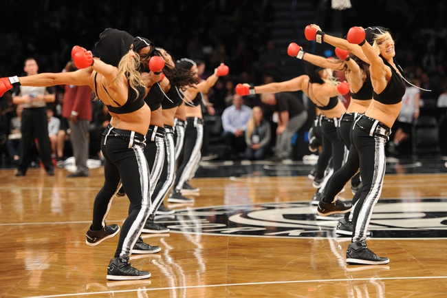 Oct 12, 2013; Brooklyn, NY, USA; The Brooklynettes perform during the second half of the preseason game between the Brooklyn Nets and Detroit Pistons at Barclays Center. The Pistons won the game 99-88 Mandatory Credit: Joe Camporeale-USA TODAY Sports