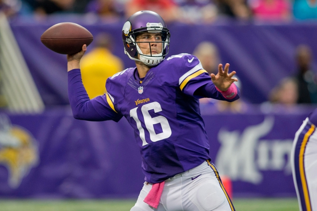 Oct 13, 2013; Minneapolis, MN, USA; Minnesota Vikings quarterback Matt Cassel (16) passes against the Carolina Panthers in the fourth quarter at Mall of America Field at H.H.H. Metrodome. Panthers win 35-10. Mandatory Credit: Bruce Kluckhohn-USA TODAY Sports