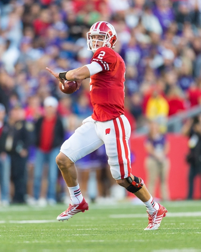 Oct 12, 2013; Madison, WI, USA; Wisconsin Badgers quarterback Joel Stave (2) during the game against the Northwestern Wildcats at Camp Randall Stadium.  Wisconsin won 35-6.  Mandatory Credit: Jeff Hanisch-USA TODAY Sports