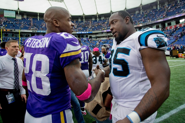 Oct 13, 2013; Minneapolis, MN, USA; Minnesota Vikings running back Adrian Peterson (28) talks with Carolina Panthers defensive end Charles Johnson (95) after the game at Mall of America Field at H.H.H. Metrodome. Panthers win 35-10. Mandatory Credit: Bruce Kluckhohn-USA TODAY Sports