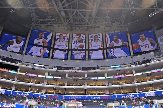 Oct 18, 2013; Los Angeles, CA, USA;  Images of Los Angeles Clippers players hang in the rafters covering all banners belonging to the Los Angeles Lakers. Los Angeles Clippers play the Portland Trail Blazers tonight at the Staples Center. Mandatory Credit: Jayne Kamin-Oncea-USA TODAY Sports