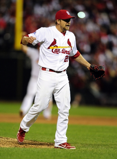 Oct 18, 2013; St. Louis, MO, USA; St. Louis Cardinals relief pitcher Trevor Rosenthal celebrates after game six of the National League Championship Series baseball game against the Los Angeles Dodgers at Busch Stadium. Mandatory Credit: Jeff Curry-USA TODAY Sports