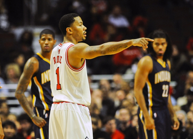 Oct 18, 2013; Chicago, IL, USA; Chicago Bulls guard Derrick Rose gives directions against the Indiana Pacers at the United Center. Mandatory Credit: Matt Marton-USA TODAY Sports