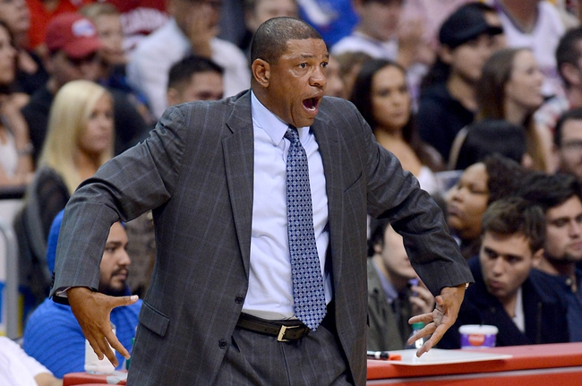 Oct 18, 2013; Los Angeles, CA, USA;  Los Angeles Clippers head coach Doc Rivers in the second half of the game against the Portland Trail Blazers at the Staples Center. Mandatory Credit: Jayne Kamin-Oncea-USA TODAY Sports
