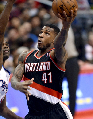 Oct 18, 2013; Los Angeles, CA, USA; Portland Trail Blazers power forward Thomas Robinson (41) in the second half of the game against the Los Angeles Clippers at the Staples Center. Mandatory Credit: Jayne Kamin-Oncea-USA TODAY Sports