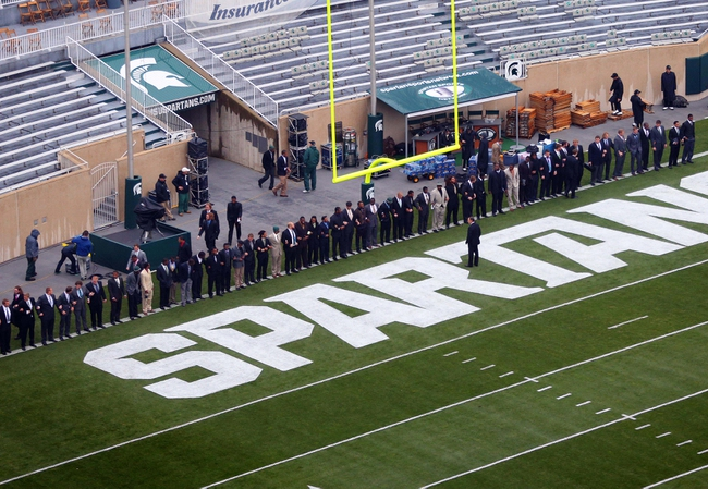 Oct 19, 2013; East Lansing, MI, USA; Michigan State Spartans prepare to walk the field as a team prior to a game against the Indiana Hoosiers at Spartan Stadium. Mandatory Credit: Mike Carter-USA TODAY Sports