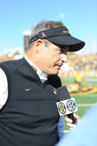 Oct 19, 2013; Columbia, MO, USA; Missouri Tigers head coach Gary Pinkel talks with media after the game against the Florida Gators at Faurot Field. Missouri won 36-17. Mandatory Credit: Denny Medley-USA TODAY Sports