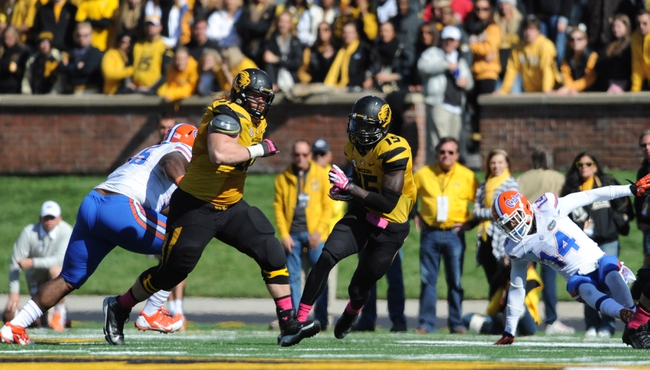 Oct 19, 2013; Columbia, MO, USA; Missouri Tigers wide receiver Dorial Green-Beckham (15) catches a pass during the second half of the game against the Florida Gators at Faurot Field. Missouri won 36-17. Mandatory Credit: Denny Medley-USA TODAY Sports