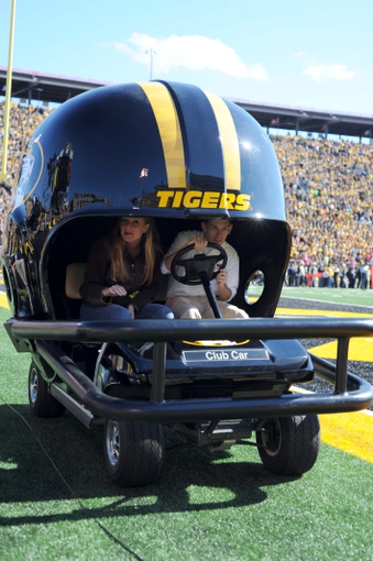 Oct 19, 2013; Columbia, MO, USA; The Missouri Tigers helmet golf cart is driven onto the field after a score during the second half of the game against the Florida Gators at Faurot Field. Missouri won 36-17. Mandatory Credit: Denny Medley-USA TODAY Sports