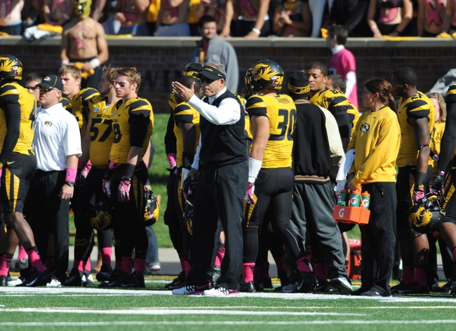 Oct 19, 2013; Columbia, MO, USA; Missouri Tigers head coach Gary Pinkel reacts to a call during the second half of the game against the Florida Gators at Faurot Field. Missouri won 36-17. Mandatory Credit: Denny Medley-USA TODAY Sports
