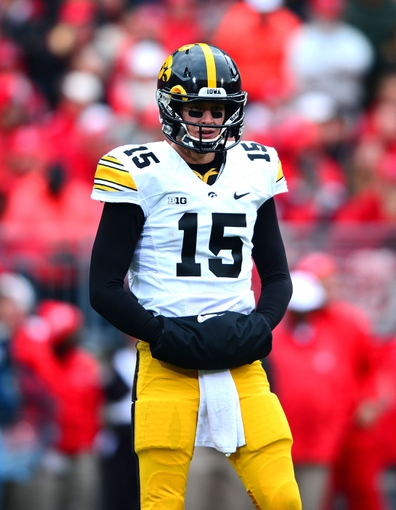 Oct 19, 2013; Columbus, OH, USA; Iowa Hawkeyes quarterback Jake Rudock (15) looks to the sidelines during the second quarter against the Ohio State Buckeyes at Ohio Stadium. Mandatory Credit: Andrew Weber-USA TODAY Sports