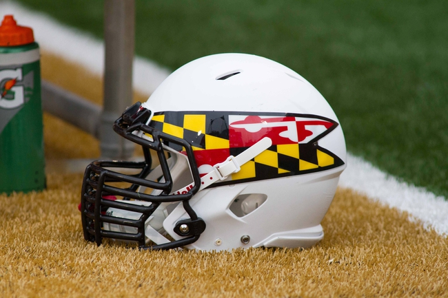 Oct 19, 2013; Winston-Salem, NC, USA; A Maryland Terrapins helmet lays on the sidelines during the game against the Wake Forest Demon Deacons at BB&T Field. Mandatory Credit: Jeremy Brevard-USA TODAY Sports